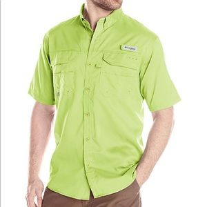 Columbia Lime Green Short Sleeve Fishing Shirt